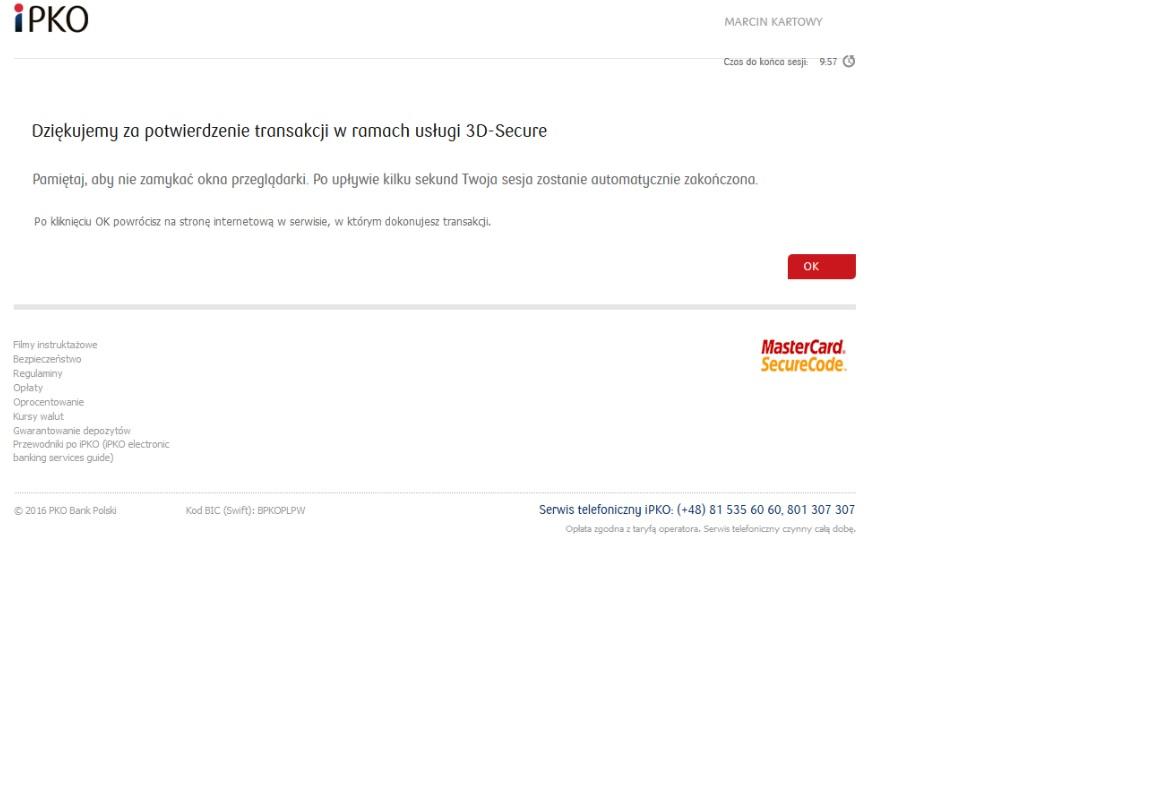 Usługa 3D – Secure - PKO Bank Polski