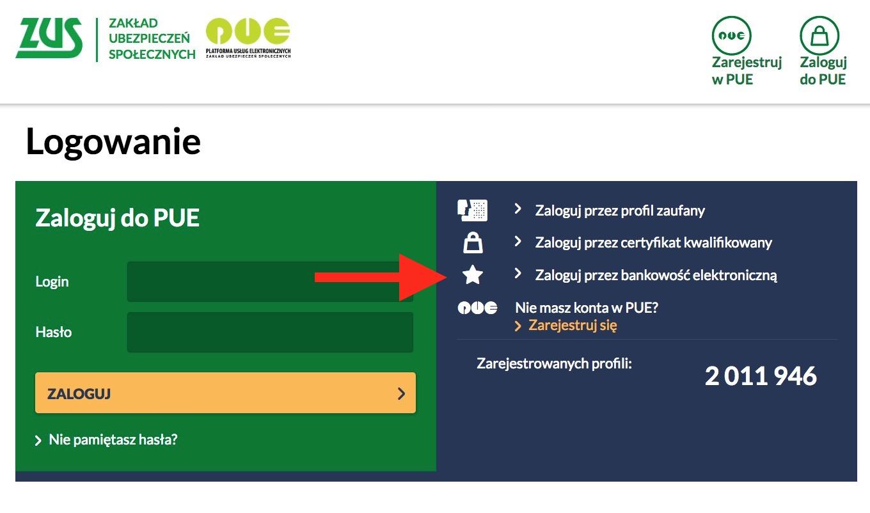 09b70404eba12a Logowanie do PUE ZUS przez bankowość elektroniczną lub Profil Zaufany