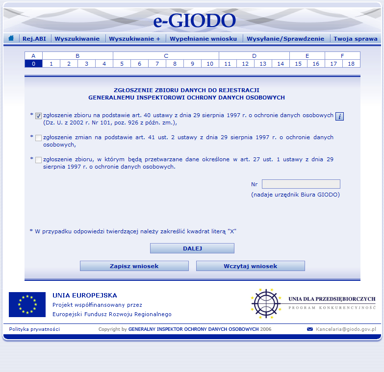 0a45cdb663c0de Zgłoszenie zbioru danych osobowych do rejestracji GIODO